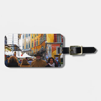 Pisa Market In Alley with Love Quote Luggage Tag