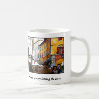 Pisa Market In Alley with Love Quote Classic White Coffee Mug