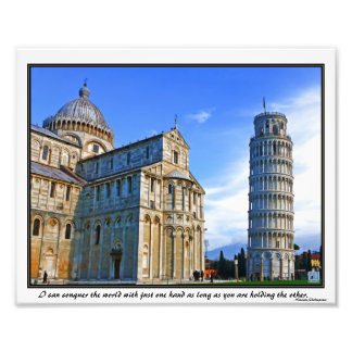 Pisa The Leaning Tower with Love Quote Photo Print