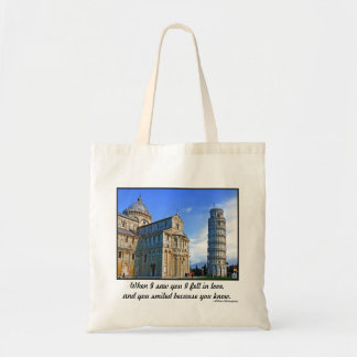 Pisa The Leaning Tower with Love Quote Tote Bag