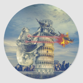 Pisa Tower Koala Bear Funny Classic Round Sticker