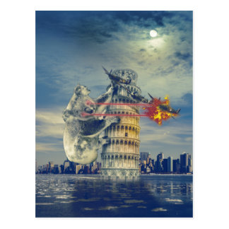 Pisa Tower Koala Bear Funny Postcard