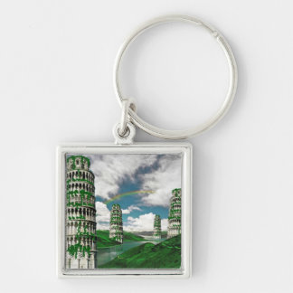 Pisa Tower Scifi Silver-Colored Square Keychain