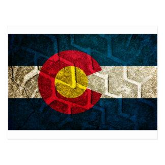 Pisada del neumático de la bandera de Colorado Tarjeta Postal
