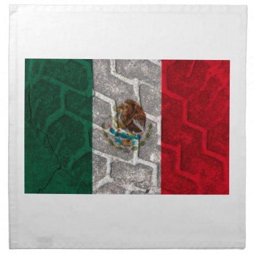 Pisada del neumático de la bandera mexicana servilleta imprimida