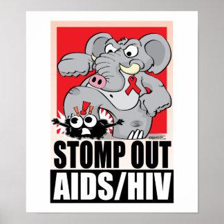 Pisan fuerte hacia fuera AIDS/HIV Poster