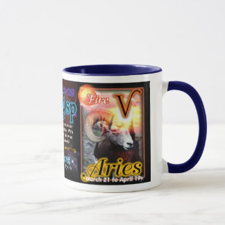 Pisces Aries cusp astrology blue trim large Mug