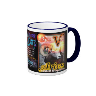 Pisces Aries cusp astrology blue trim large Ringer Coffee Mug