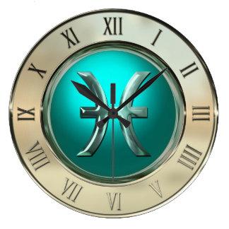 Pisces Astrological Sign Large Clock