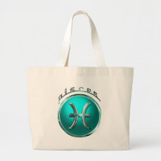 Pisces Astrological Sign Large Tote Bag