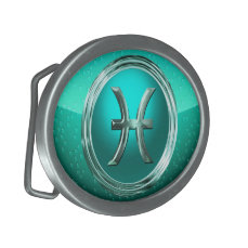 Pisces Astrological Sign Oval Belt Buckle