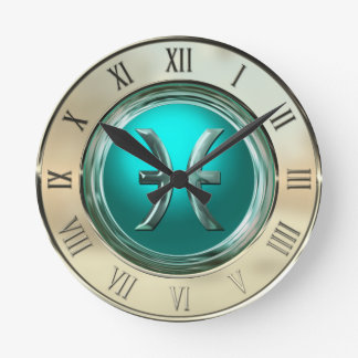 Pisces Astrological Sign Round Clock