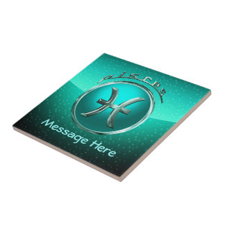 Pisces Astrological Sign Small Square Tile