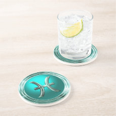 Pisces Astrological Symbol Sandstone Coaster