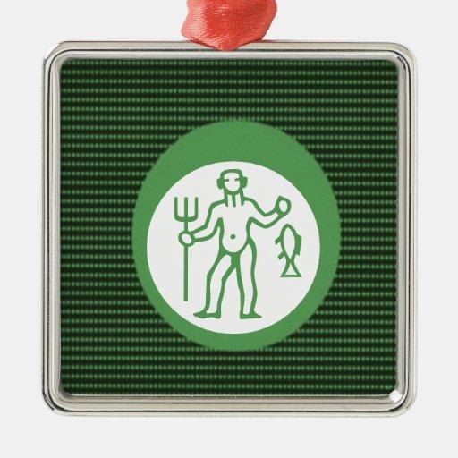 PISCES Astrology Zodiac Symbol Square Metal Christmas Ornament
