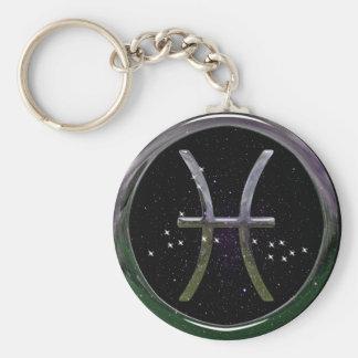 Pisces Basic Round Button Keychain