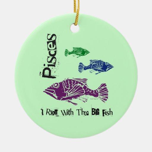 Pisces Big Fish Birthday Ornament