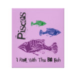 Pisces Big Fish Wrapped Canvas Art Print (Purple) Gallery Wrapped Canvas