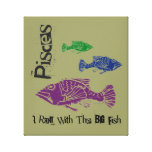 Pisces Big Fish Wrapped Canvas Art Print (Tan) Gallery Wrap Canvas