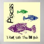 Pisces Big Fish Zodiac Poster