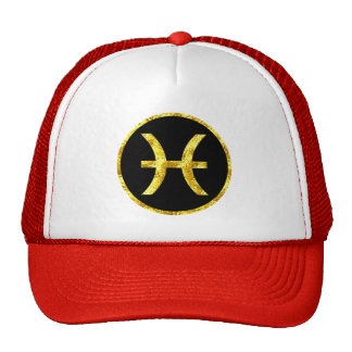 Pisces Black Gold Crest Trucker Hat
