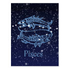 Pisces Constellation and Zodiac Sign with Stars Postcard