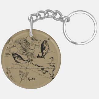 Pisces Constellation Hevelius 1690 Engraving Double-Sided Round Acrylic Keychain