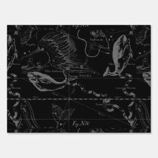 Pisces Constellation Hevelius 1690 Map Engraving Lawn Sign