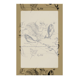 Pisces Constellation Hevelius 1690 on Taupe Stationery