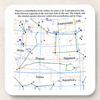 Pisces Constellation Map Chart Beverage Coaster