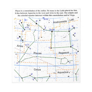 Pisces Constellation Map Chart Notepad