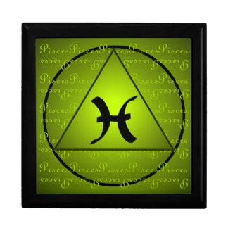 Pisces Curly Script Triangle Circle Green Keepsake Box
