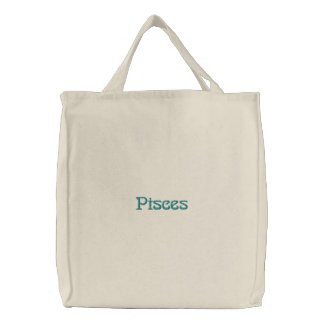 PISCES EMBROIDERED TOTE BAG