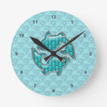 Pisces Fish Aquamarine & Silver Jewels Clocks