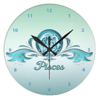 Pisces Fish Aquamarine & Silver Jewels Large Clock