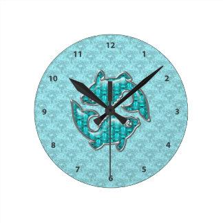 Pisces Fish Aquamarine & Silver Jewels Round Clock