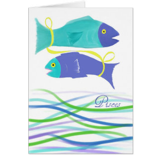 Pisces Fish Birthday-Colorful Fish Art Card