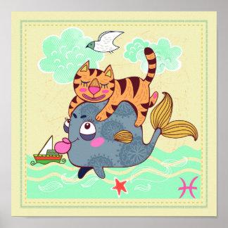 Pisces Fish Cat Zodiac Nursery Print