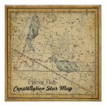 Pisces Fish Constellation Star Map February March Poster