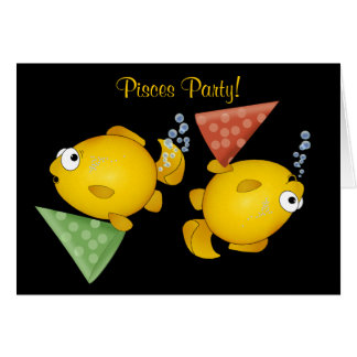 Pisces fish happy birthday party invitation card