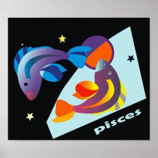 PIsces Fish Poster - Black