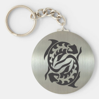 Pisces Fish Silhouette with Metallic Effect Keychain