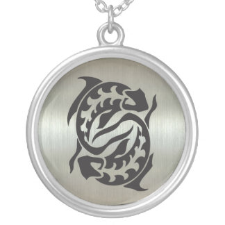 Pisces Fish Silhouette with Metallic Effect Jewelry
