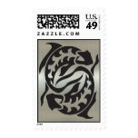 Pisces Fish Silhouette with Metallic Effect Postage