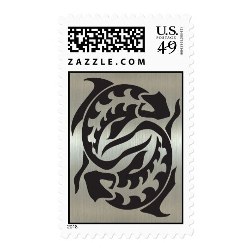 Pisces Fish Silhouette with Metallic Effect Stamps