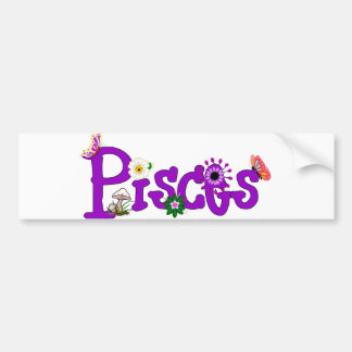 Pisces Flowers Bumper Sticker