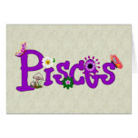 Pisces Flowers Greeting Cards