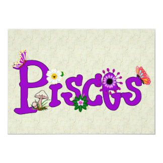 "Pisces Flowers 5"" X 7"" Invitation Card"