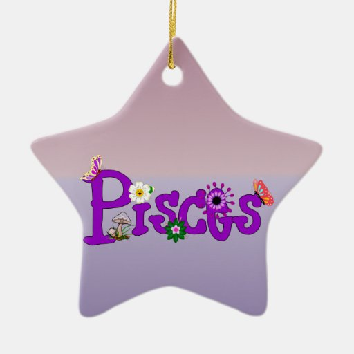 Pisces Flowers Double-Sided Star Ceramic Christmas Ornament