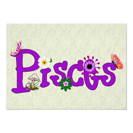 Pisces Flowers Personalized Invitation